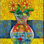 Abstract. vase, Flowers, colorful painting