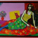 Cat, woman, Colorful abstract painting